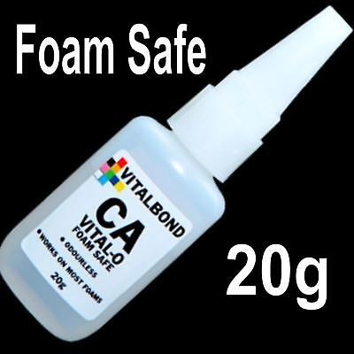 Vitalbond CA Foam Safe 20g Super Glue 10 Sec Cure Plastics,Metal,Balsa Wood DIY