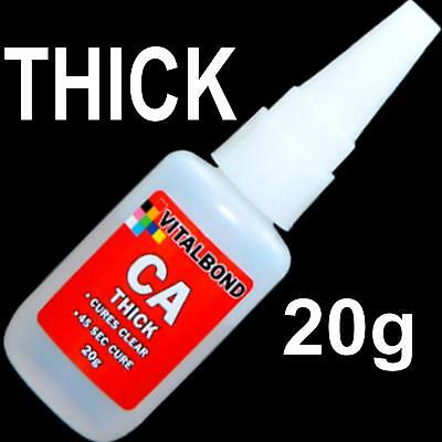 Vitalbond CA Thick 20g Super Glue 45 Sec Cure Model Plastics,Metal,Balsa Wood