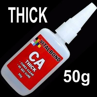 Vitalbond CA Thick 50g Super Glue 45 Sec Cure Model Plastics,Metal,Balsa Wood