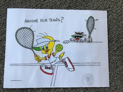 ANYONE FOR TENNIS Tweety And Sylvester Cel Animation Art Warner Bros