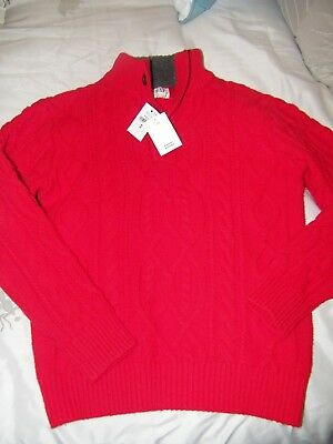 Gap Kids Boys Sweater Red Cable Knit M Medium 8 Nwt