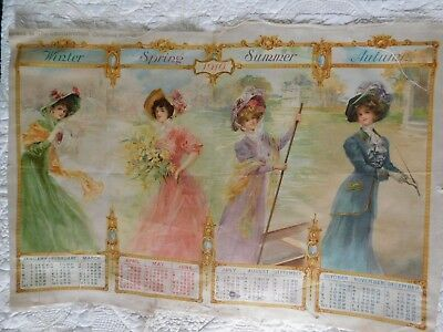 Antique 1910 Printed Silk Year Calendar 'the Four Seasons' For The Gentlewoman M