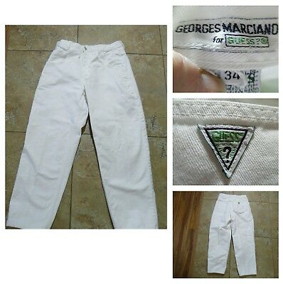 VTG 90s GEORGE MARCIANO GUESS WHITE JEANS High Waist MOM Tapered Legs USA 34X28