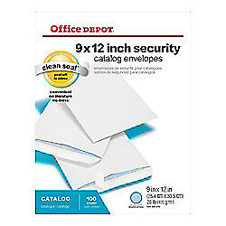 "Office Depot Brand Clean Seal Catalog Envelopes, 9"" x 12"", Security Tint, 100Pk"