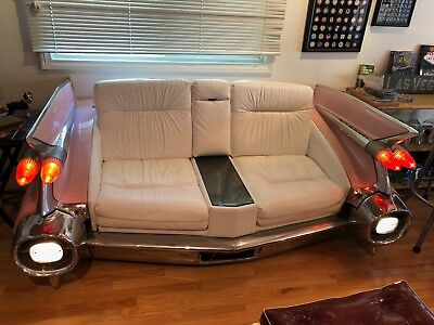 59 Eldorado PINK CADILLAC COUCH Leather Love Seat AUTHENTIC CUSTOM lights stereo
