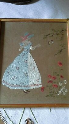 Old Picture Of Crinoline Lady With Poppies Daisies And Birds.