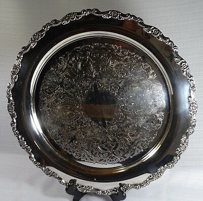 Silver plated  Oneida round footed serving tray vintage
