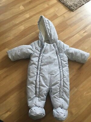 0-3 month George asda baby grey snow/pramsuit