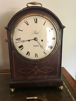 "Antique Pad Top Bracket Clock Double Fusee by ""Paul"" Cleavland Street London"