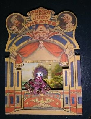 VINTAGE PUNCH AND JUDY  TOY paper/board THEATRE, 2 backdrops