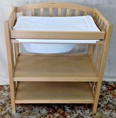 Wooden Baby Changing Bath Bathing Storage Unit Table Shelves - Vgc