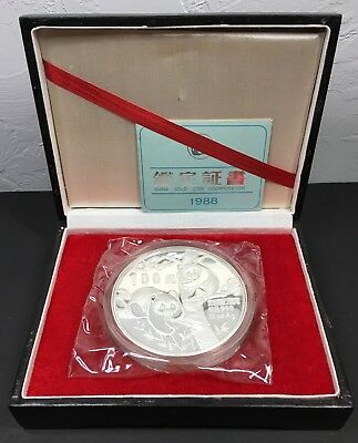 1988 CHINA 12 OZ SILVER PANDA 100 YUAN COIN w/ BOX & COA - ONLY 5000 MINTED