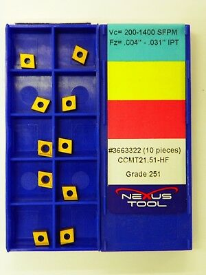 20pc NEXUS CARBIDE INSERTS, CCMT 21.51-HF 251 Indexable Coated Tips Bits   A025