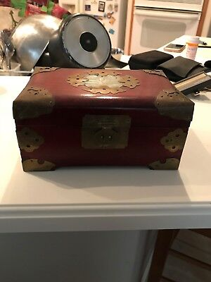 Vintage Oriental Wooden Jewelry Box Brass & Jade details & Red interior lining