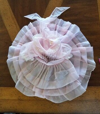 Vintage Young-Life 1950's Pink Sheer Nylon Frilly Party Dress - Size 1