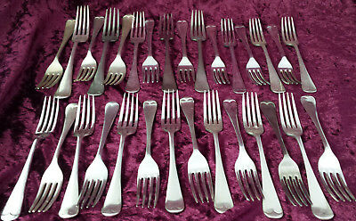 Job lot 30 vintage /antique silver plated dinner forks & dessert forks 15 each