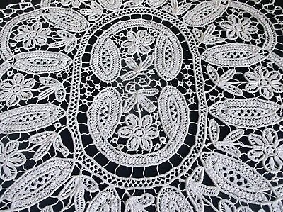VINTAGE MAGNIFICENT HAND WORKED ROMANIAN POINT LACE TABLE CLOTH 82 x 66cms