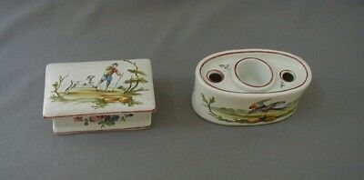 RARE FRENCH FAIENCE ADOLPHE PORQUIER INKWELL QUIMPER AP MARK  w BIRDS & BOX