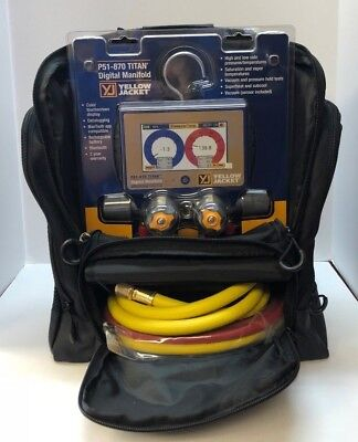 Yellow Jacket P51-870 Titan 4-Valve Digital Manifold 40870 W/ Hoses