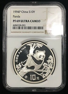1994P China 10 Yuan 1 Oz Proof Silver Panda - Ngc Pf69 Ultra Cameo