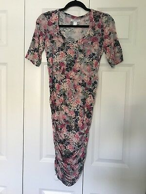 Motherhood Maternity Side Ruched Floral Dress Size Small