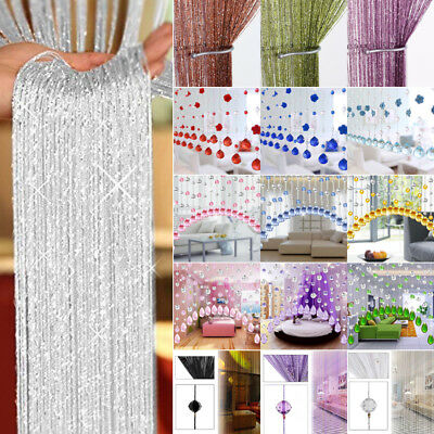 String Curtain Room Divider Crystal Beads Door Window Panel Wedding Home Lot