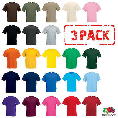 PACK DE 3 FRUIT OF THE LOOM t-shirt coton uni T-Shirts hommes taille ... 33bfe3bc0e64