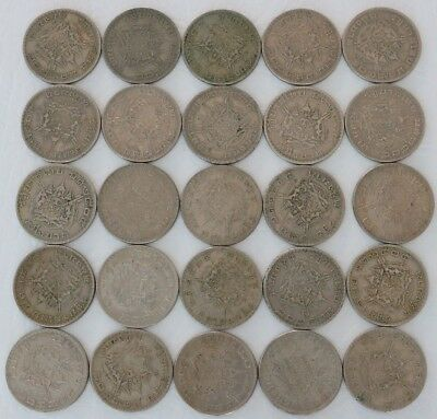 1 Baht Thailand 2505 (1962-1982) Coin Lot Of 25 World Foreign Combined Ship C50