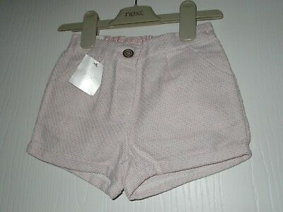 Next Little Girls Pink Mottled Adjustable Waist Summer Shorts 18-24 Months Bnwt