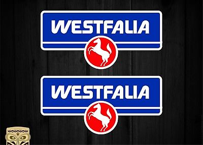 Pegatina Sticker X2 Westfalia With Red Horse Vintage Logo Camper Van Laminated
