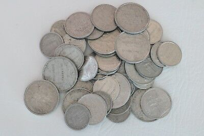 French Polynesia Lot Of 46 Coins 1, 2, 5 Francs Aluminum Combined Shipping C34