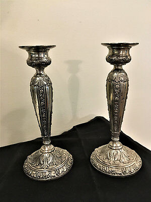 Vintage Victorian Era Jennings Brothers. Silver Plated Candlestick Holders