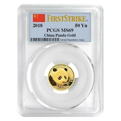 2018 3 Gram Chinese Gold Panda 50 Yuan PCGS MS 69 First Strike