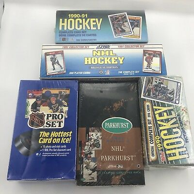 Lot of 5 Factory Sealed Boxes: 1990-1991 NHL Hockey Trading Cards, Score, Topps