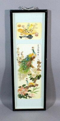Ornate Chinese Hand Painted Shell Art Peacock Floral Shadowbox