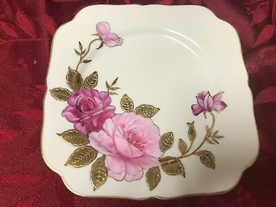 Occupied Japan Square Decorative Plate Roses and Heavy Gold
