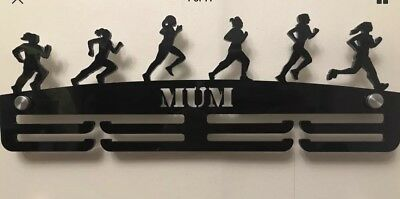 Thick Acrylic 2Tier Personalised 5mm FEMALE RUNNER Medal hanger / Holder