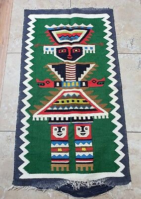 Vintage Wool Aztec Mayan Southwestern Mexican RUG OR BLANKET OR WALL DECOR