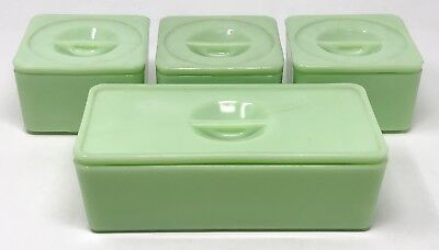Lot 4 Vintage Jeannette Jadeite Jadite Refrigerator Left Over Lidded Dishes SCP