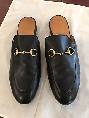 2a945bf70 Gucci Womens Princetown Leather Horsebit Loafers Mules Flats Black Gold 39 9