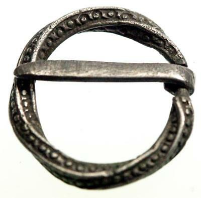 An elaborate Medieval 13th century twisted ring penannular silver brooch buckle!