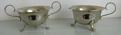 Antique Lion Footed Large Silver Plated Sugar Bowl & Milk Jug Quality 11cm dia