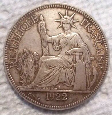 1922 H French Indo-China Piastre KM# 5a.3 .900 Silver 27gr Coin