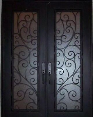 "Wrought Iron Entry Door 61.5""W X 81""H Right In Swing Operable Privacy Glass"