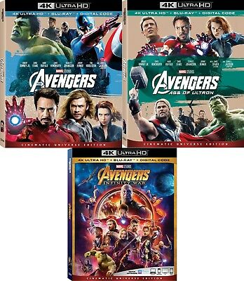 The Avengers (3 Movies)(Marvel)(Ultron)(Infinity)(4K Ultra HD)(UHD)(Atmos)