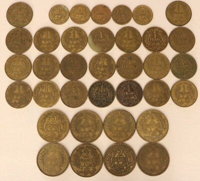Tunisia 36 Coin Lot 50 Centimes, 1, 2 Francs 1921-1945 World Combined Ship C15