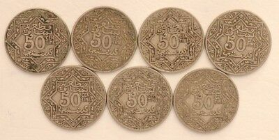 50 Centimes Morocco Empire Cherifien 1921-1924 Coin Lot Of 7 Combined Ship C13