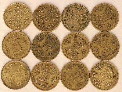 10 Francs Morocco Ah1371 Coin Lot Of 12 World Foreign Combined Shipping C12