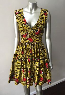 Ankara Wax Print African Red Robin Bird Yellow Fit n flare Short Mini Dress XS