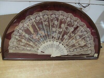 Antique Lace Hand Painted Fan in Shadowbox Frame Clark Gable Cristie's auction
